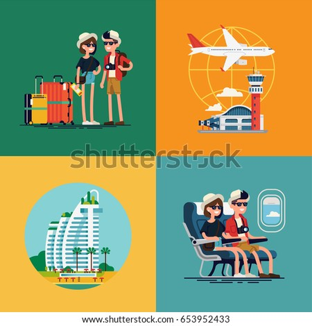 Lovely set of vector concept illustration on traveling couple. Young adult couple traveling visuals with luggage, airport terminal, plane, resort hotel and liner cabin seats