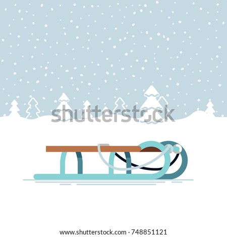 Lovely snowy winter landscape with classic sleigh. Winter holiday festive season outdoors activities and recreation Foto stock ©