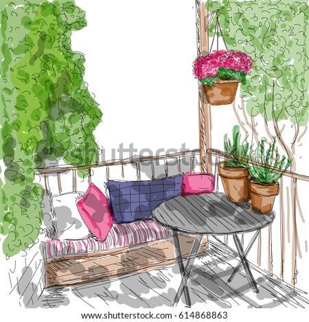 lovely summer balcony in the
