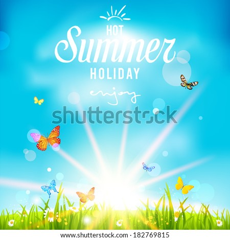 Lovely summer holiday background. Vector illustration with bright sunlight and blue sky