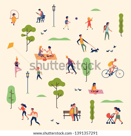 Lovely summer landscape pattern with group of people spending free time outdoors in park, enjoying nature, jogging, skating, playing ball, doing yoga, flying kite, jumping rope, having picnic and more