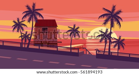 lovely sunset  sea  road  trees