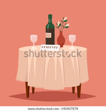 Lovely table in the restaurant for two people. On the table there are two glasses, a bottle of wine and a vase of flowers. The table is reserved. Vector cartoon illustration