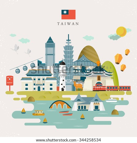 lovely taiwan travel map design