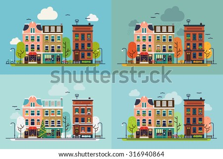 lovely town street with house