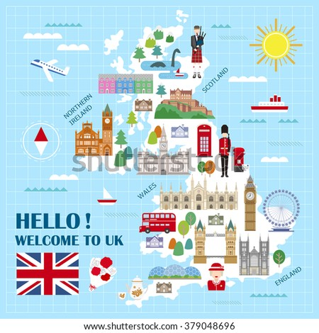 lovely United Kingdom travel map with attractions