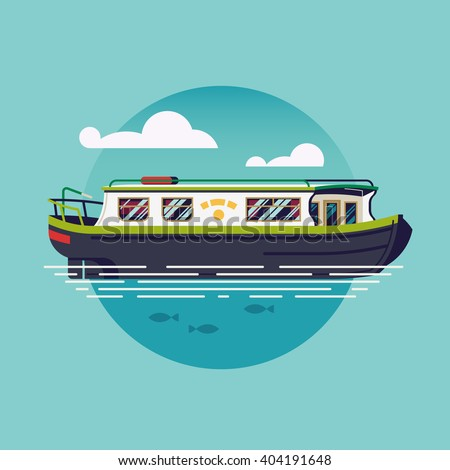 Lovely vector flat design narrowboat round icon. British canal boat water recreational transport illustration. River barge based leisure and recreation cruising transport narrow boat. River houseboat