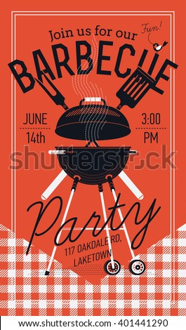 Lovely vector flyer or poster template on barbecue party. Barbecue cookout event. Spring or summer barbecue weekend celebration poster with red checkered tablecloth, cooking grill, paddle and fork