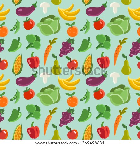 Lovely vegetables and fruits vector seamless pattern #1369498631