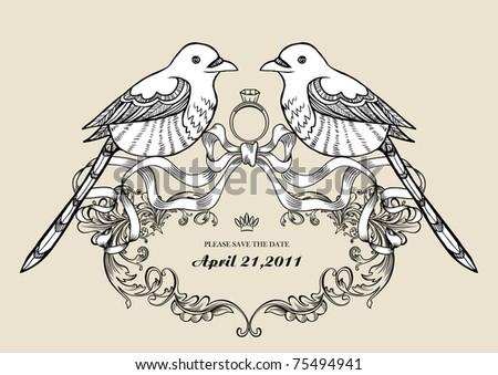 stock vector lovely wins birds wallpaper best for wedding invitation card