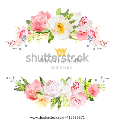 Lovely wishes floral vector design frame. Wild rose, peony, orchid, hydrangea, pink and yellow flowers. Floral banner stripe elements.