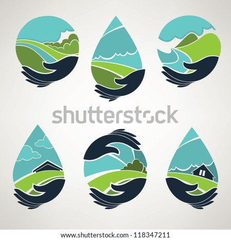 lovely world in my hands, vector collection of landscape symbols
