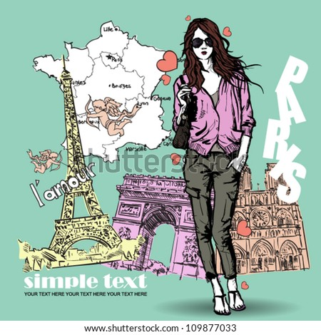 Lovely young girl in sketch-style on a french background. Vector illustration - stock vector