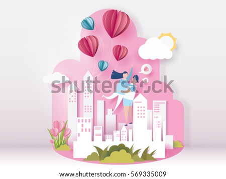 lovely young joyful couple hug on pink paper abstract background with balloons heart and city view design for valentine's day festival .Vector illustration.paper craft style.