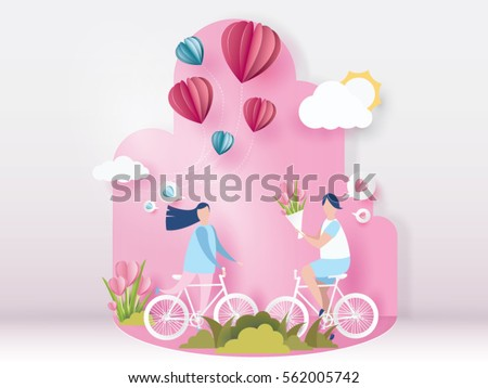 lovely young joyful couple ride bicycle on abstract pink background and balloons heart,design for valentine's day festival .Vector illustration.paper craft style.