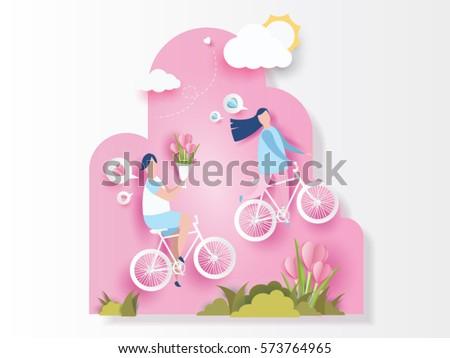 lovely young joyful couple ride
