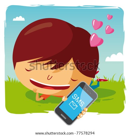lover boy lying in the grass with his mobile phone - sms