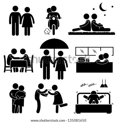 Lover Couple Boyfriend Girlfriend Sweetheart Relationship Activity Stick Figure Pictogram Icon - stock vector