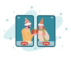 Lover dating online via smart phone on Christmas and New year celebration. Cartoon flat vector illustration. Party online, video call, family gathering concept.
