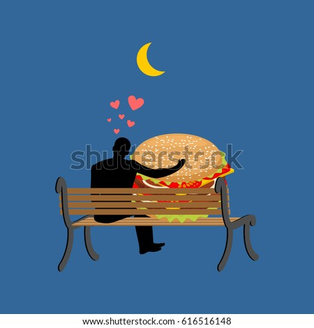 lover fast food. Man and hamburger sitting on bench. Guy and Burger. Romantic date fastfood. Glutton Lifestyle