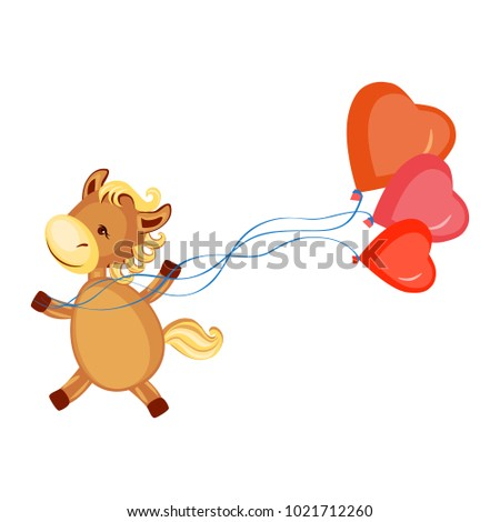 lover horse with red ballons