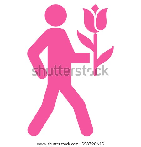 lover with flower vector icon