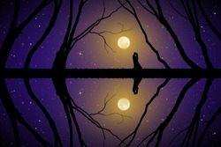 Lovers among trees on moonlit night. Vector illustration with silhouette of loving couple. Full moon in starry sky
