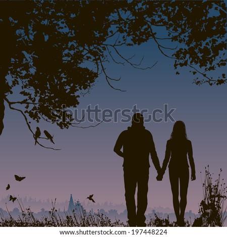 lovers at night  romantic