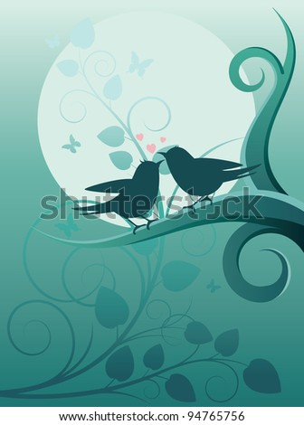 Lovers birdies in a night garden vector illustration