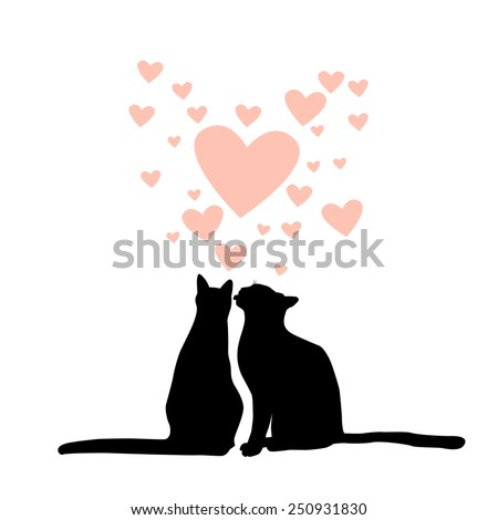 lovers cats silhouette vector