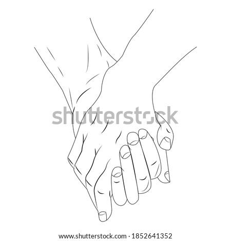 Lovers hold hands, line in vector Zdjęcia stock ©