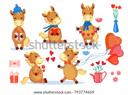 lovers horses vector set kid