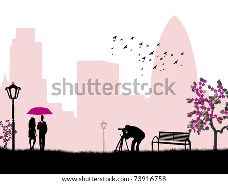 Lovers in a city park and photographer background, vector illustration