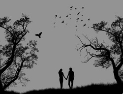Lovers in a park on grey background, vector illustration