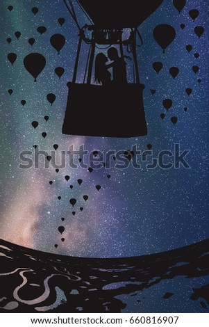 lovers in balloon at night