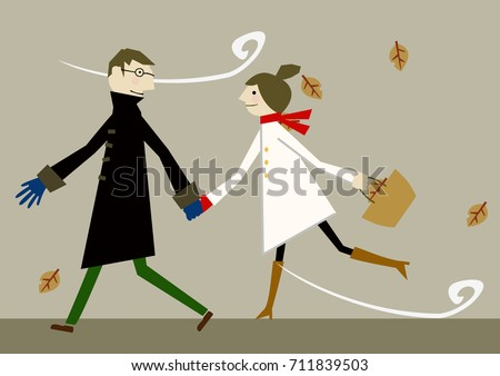 lovers in early winter clip art