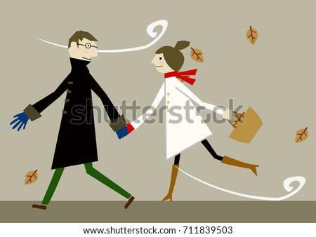 lovers in early winter clip art