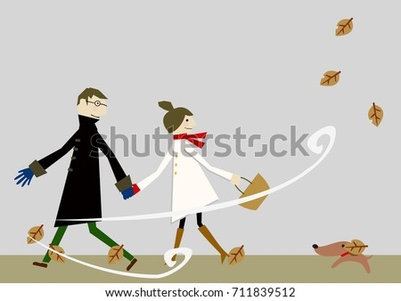 lovers in early winter with