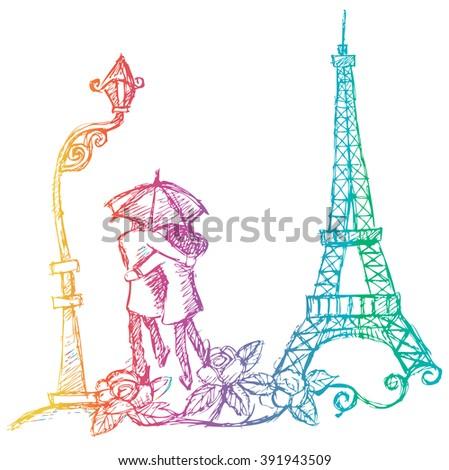 lovers in eiffel tower under