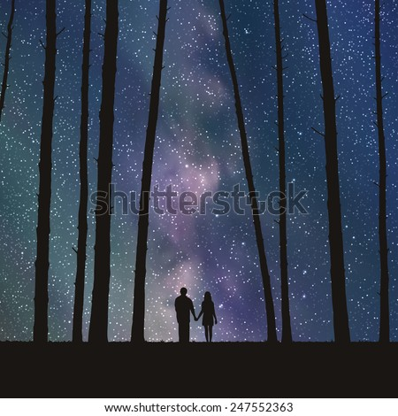 lovers in forest vector