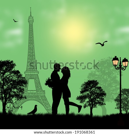 lovers in paris on green