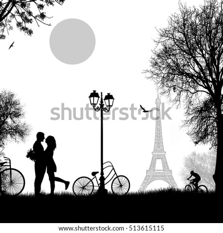 lovers in paris on white
