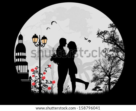 lovers in the city in front a