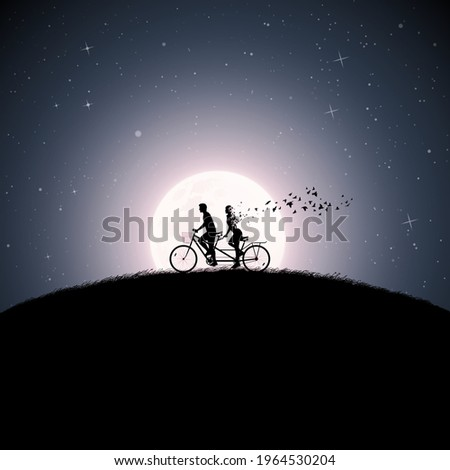 lovers on bycicle silhouette