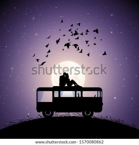 lovers on roof of retro car on