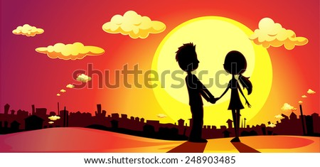 lovers silhouette in sunset