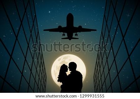 lovers under flying plane on