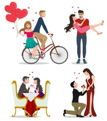 Lovers vector character set. Pairs of valentines couples in bicycle, dating and doing proposal isolated in white background. Vector illustration.