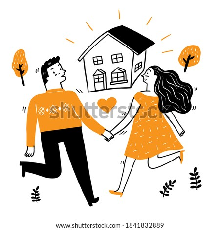 Lovers walk hand in hand and walk forward to their house, Vector Illustration doodle style