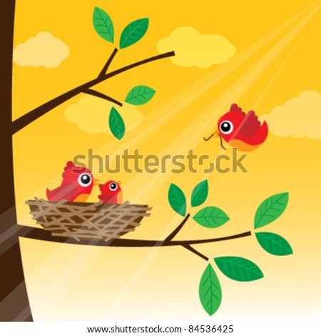 Loving bird feeding in the morning